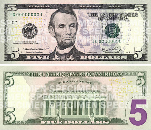 new purple 5 dollar bill usa