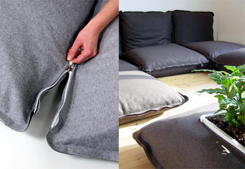 zipzip zip ping collection modular zipper cushions