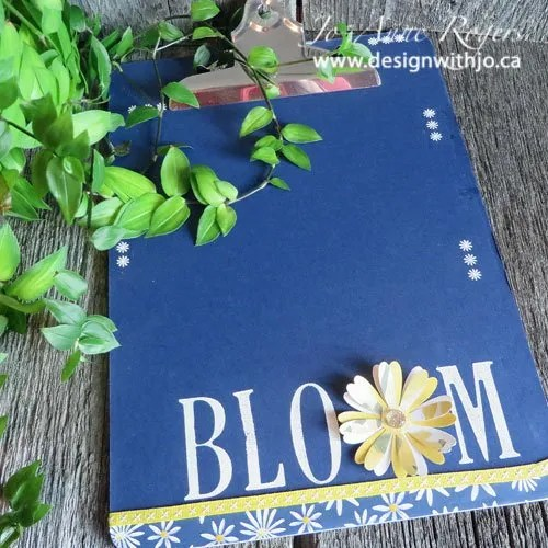 DIY clipboard with letters and flowers