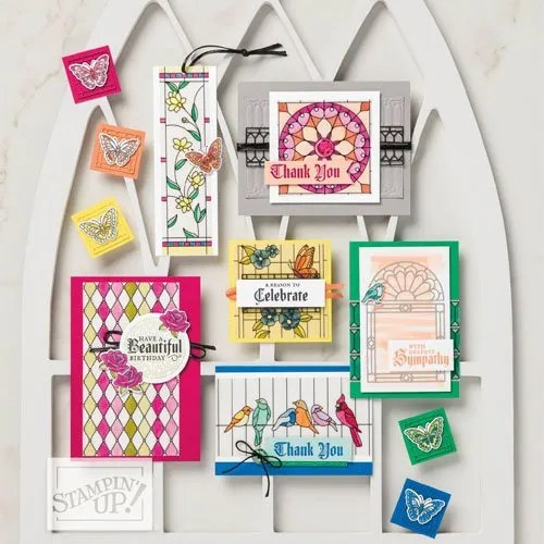 cardmaking with Stampin Up Stained Glass thinlits