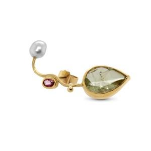 josephine bergsoe 18k 22k gold beryl pink sapphire keshi pearl seafire earring designyard contemporary jewellery gallery dublin ireland handmade jewelry design designer irish jewellers shop