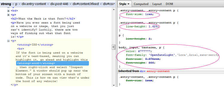 browser style inspector shows HTML and CSS under the hood