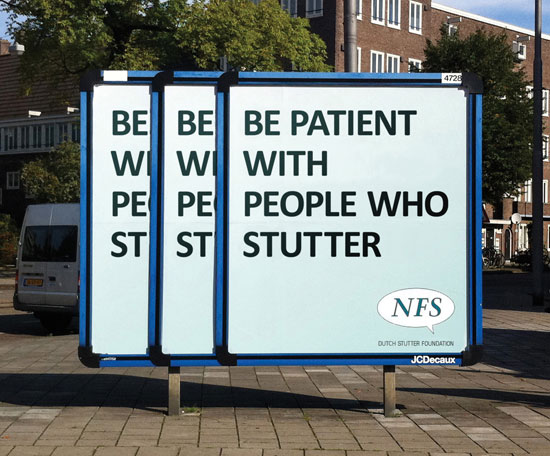 Be patient with people who stutter Outdoor Advertising