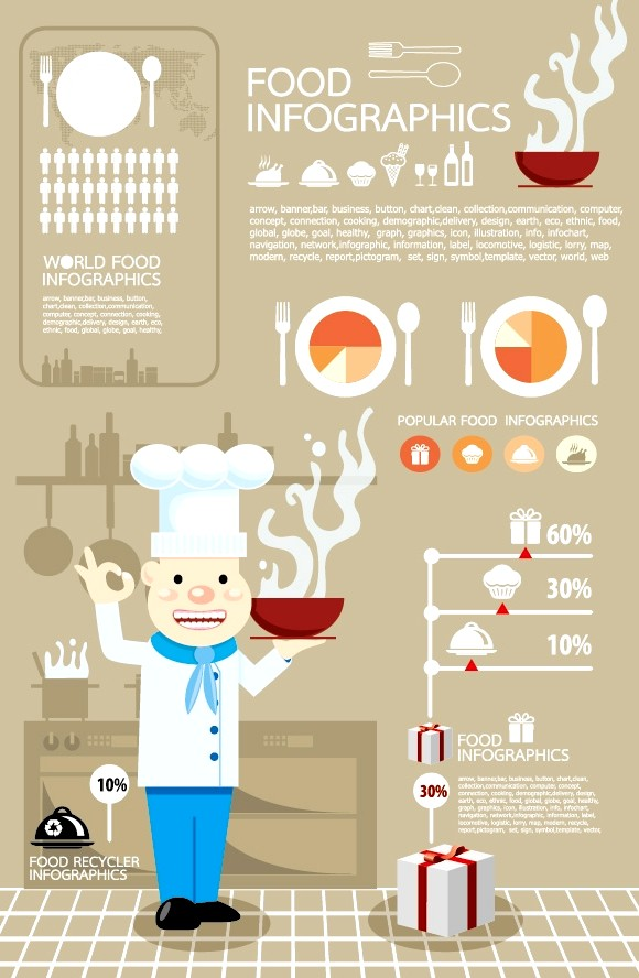 Elements of food infographics vector