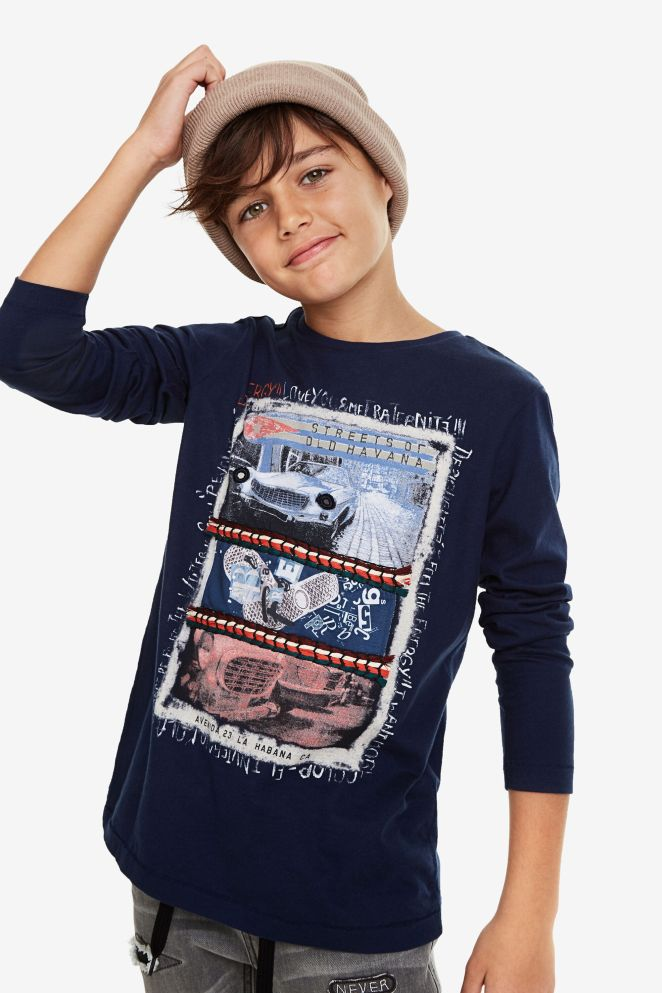 Maglietta basic a manica lunga print posizionale