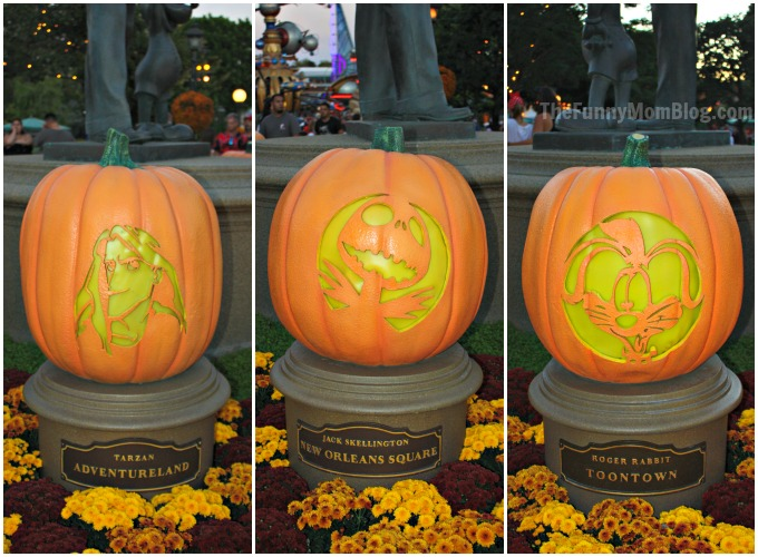 Disney character pumpkin carvings at disneyland resort