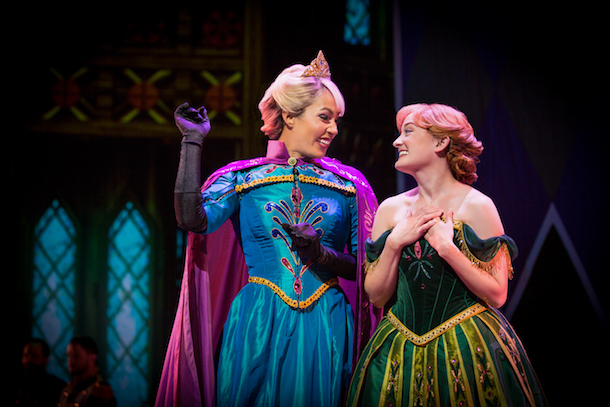 ANNA AND ELSA IN 'FROZEN – LIVE AT THE HYPERION' -- A new theatrical interpretation for the stage based on Disney's animated blockbuster film, Frozen is now playing at the Hyperion Theater at Disney California Adventure Park. The show immerses audiences in the emotional journey of Anna and Elsa with all of the excitement of live theater, including elaborate costumes and sets, stunning special effects and show-stopping production numbers.(Piotr A. Redlinski/Disneyland Resort)