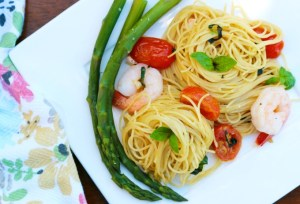 Basil, Garlic, Tomato and Shrimp Angel Hair Pasta