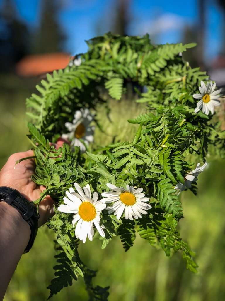 Flowers is an important part of midsommar in Rättvik, Dalarna, Sweden