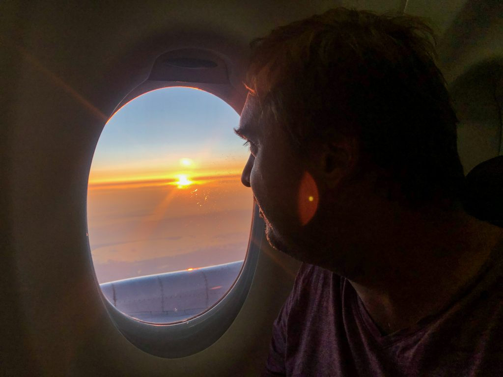 flight, plane, view, sunset, travel, happiness, man