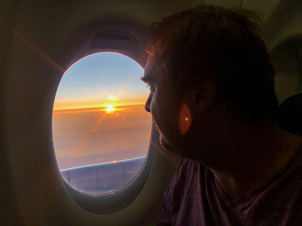 Thomas, solnedgang, fly, ferie, glede