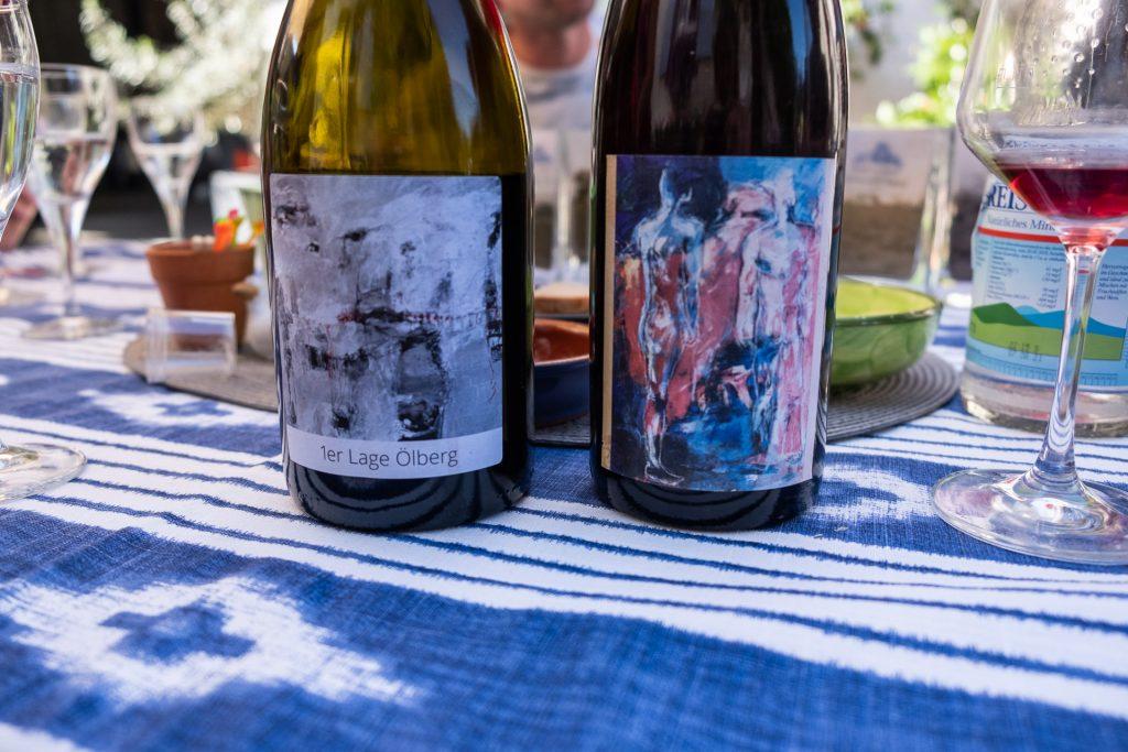 flasker, kunt, maleri, vin, vinflaske, sommer