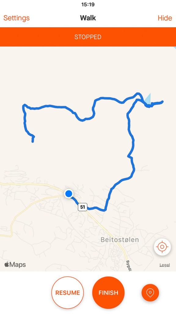 Strava, map, hike, Beitostølen