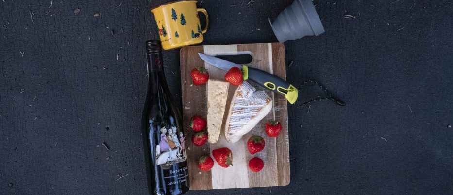 Details camping food, cheese, wine and strawberries
