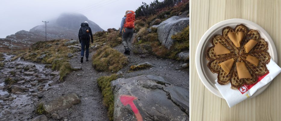 People hiking Bitihorn and Norwegian traditional waffle with brown cheese