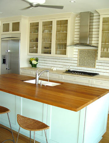 butcher block counters and sinks