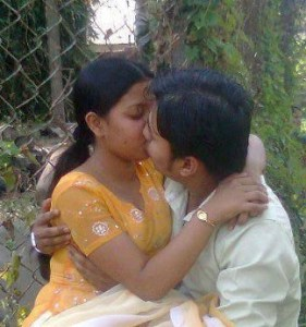Desi Indian Couple kissing outdoors