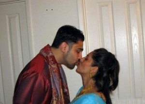newly married husband wife lip locking photo