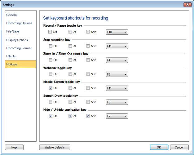 My Screen Recorder Pro  Changing Keyboard Shortcuts