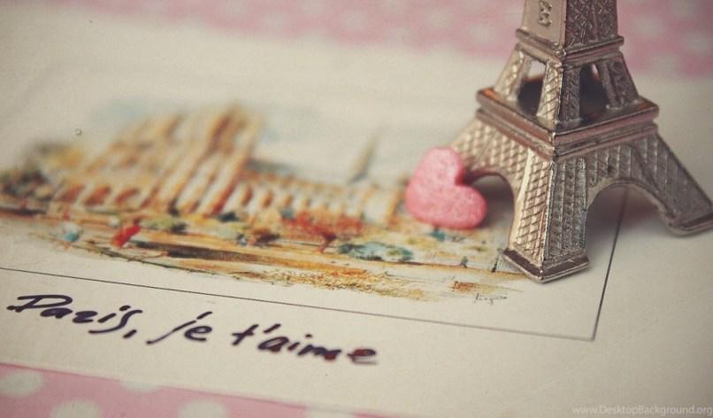 Paris Love Postcard Hd Wallpaper Jpg Desktop Background