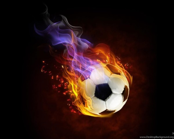Flaming Soccer Ball Desktop Background