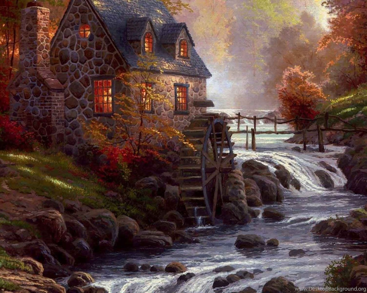 Fall Wallpaper For Iphone 5 Thomas Kinkade Autumn Wallpaper Desktop Background