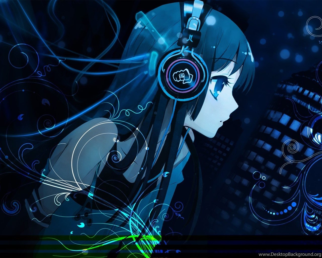 Cute Wallpaper For Iphone 4s Cute Girl Anime Wallpapers Listening Music With