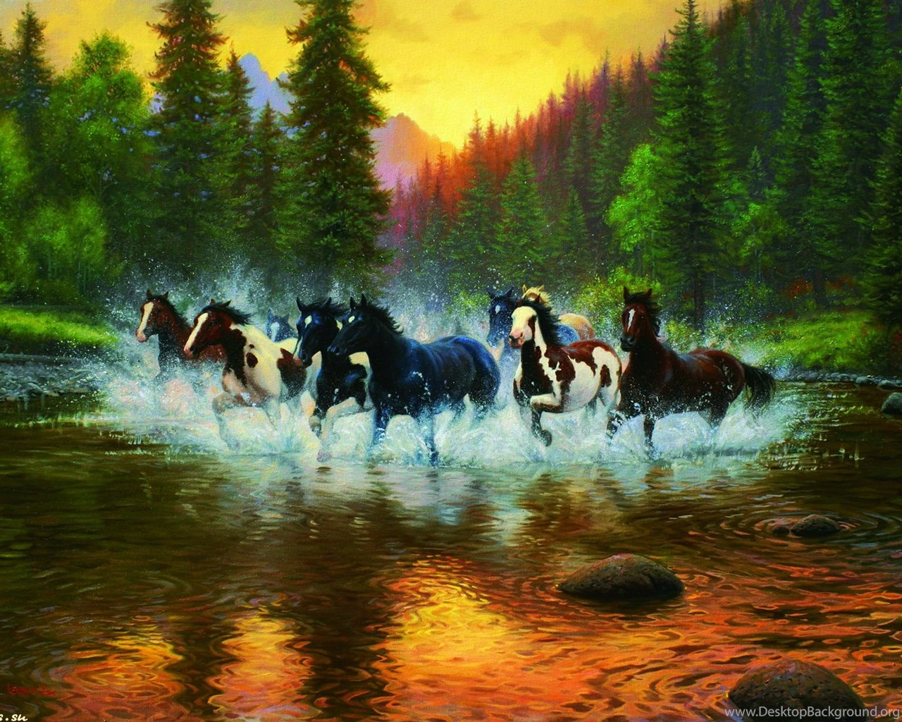 Iphone 5c Color Wallpaper Horses Wild Horses Sunset River Water Firs Herd Nature