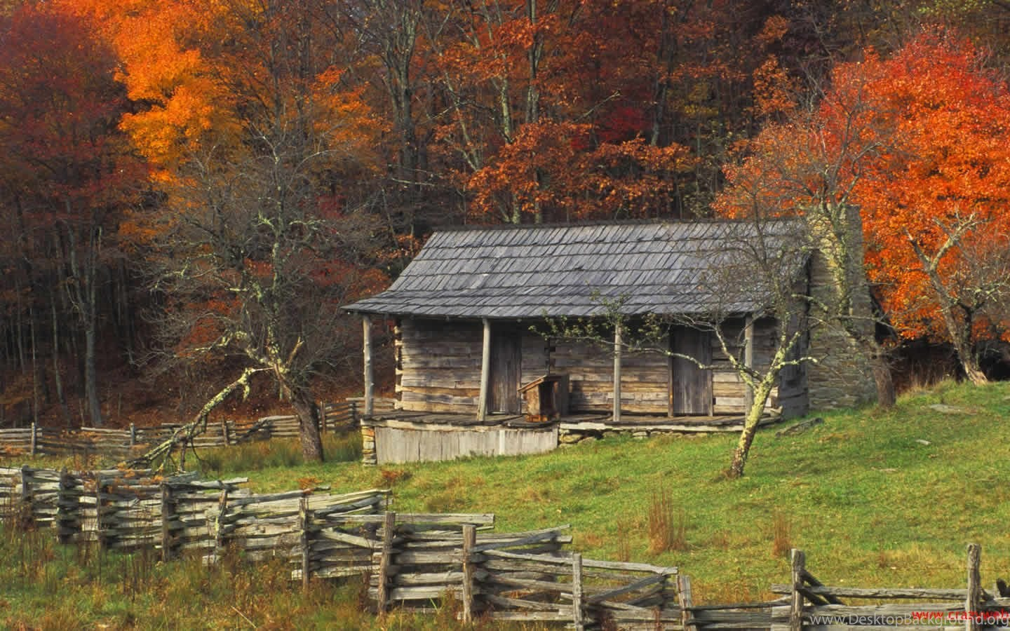 Fall Wallpaper For Tablet Autumn Fall Color Kentucky Country Log Cabin Wallpapers