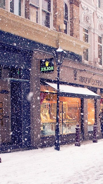 Iphone 5c Color Wallpaper City Winter Europe Street Snow Shopping Hd Wallpapers