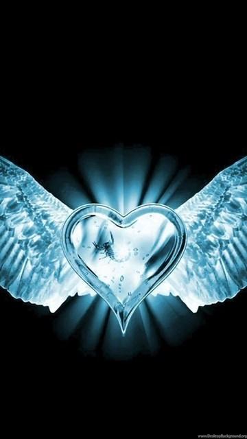 Navy Blue Wallpaper Iphone X Blue Heart Wings Wallpaper Backgrounds Desktop Background