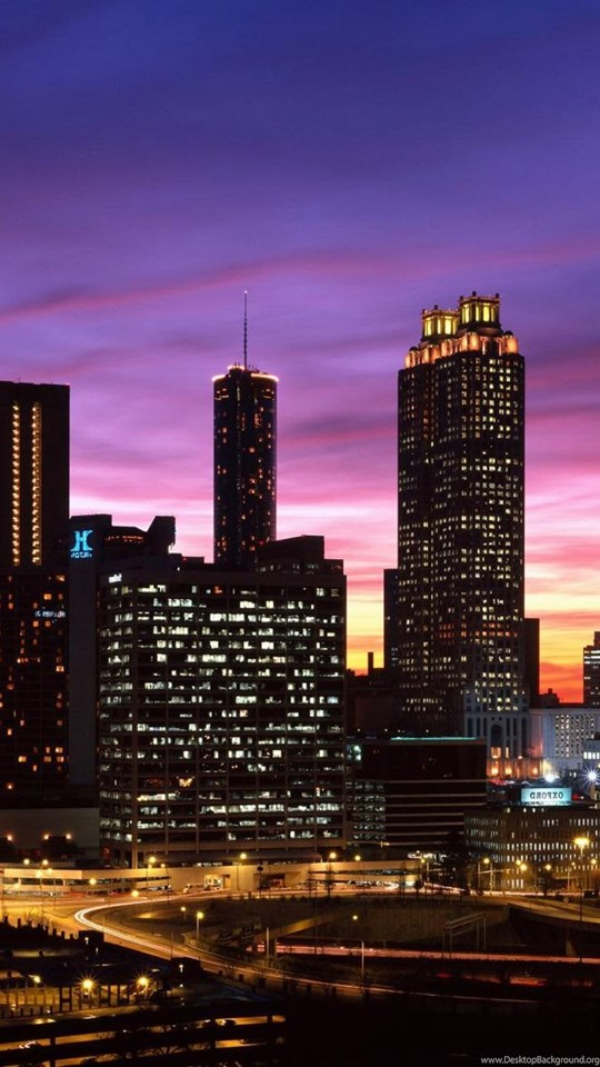 Atlanta Iphone X Wallpaper Atlanta Georgia Downtown Beautiful Night City Skyline