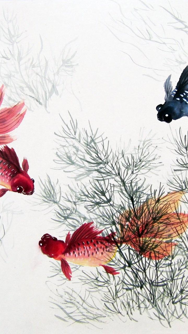 Iphone 4s Original Wallpaper 2560x1600 Chinese Painting Fish Fish Chinese Painting