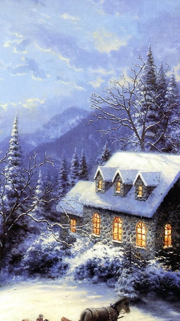 Wallpaper For Iphone 5c Free 2015 Free Thomas Kinkade Christmas Screensavers Wallpapers