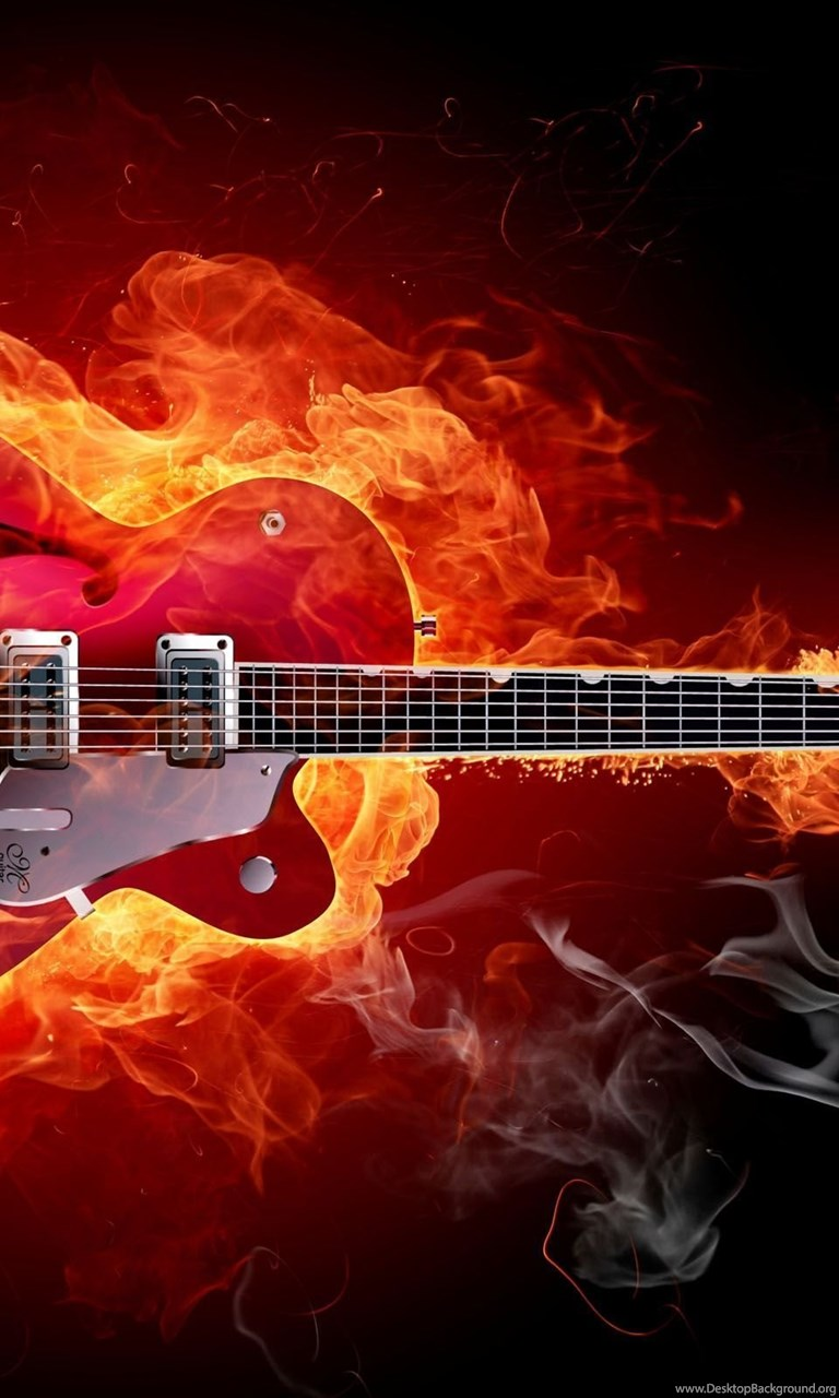 Iphone 4s Wallpaper Hd Download Awesome Hard Rock Music Fire Guitar Image Wallpapers