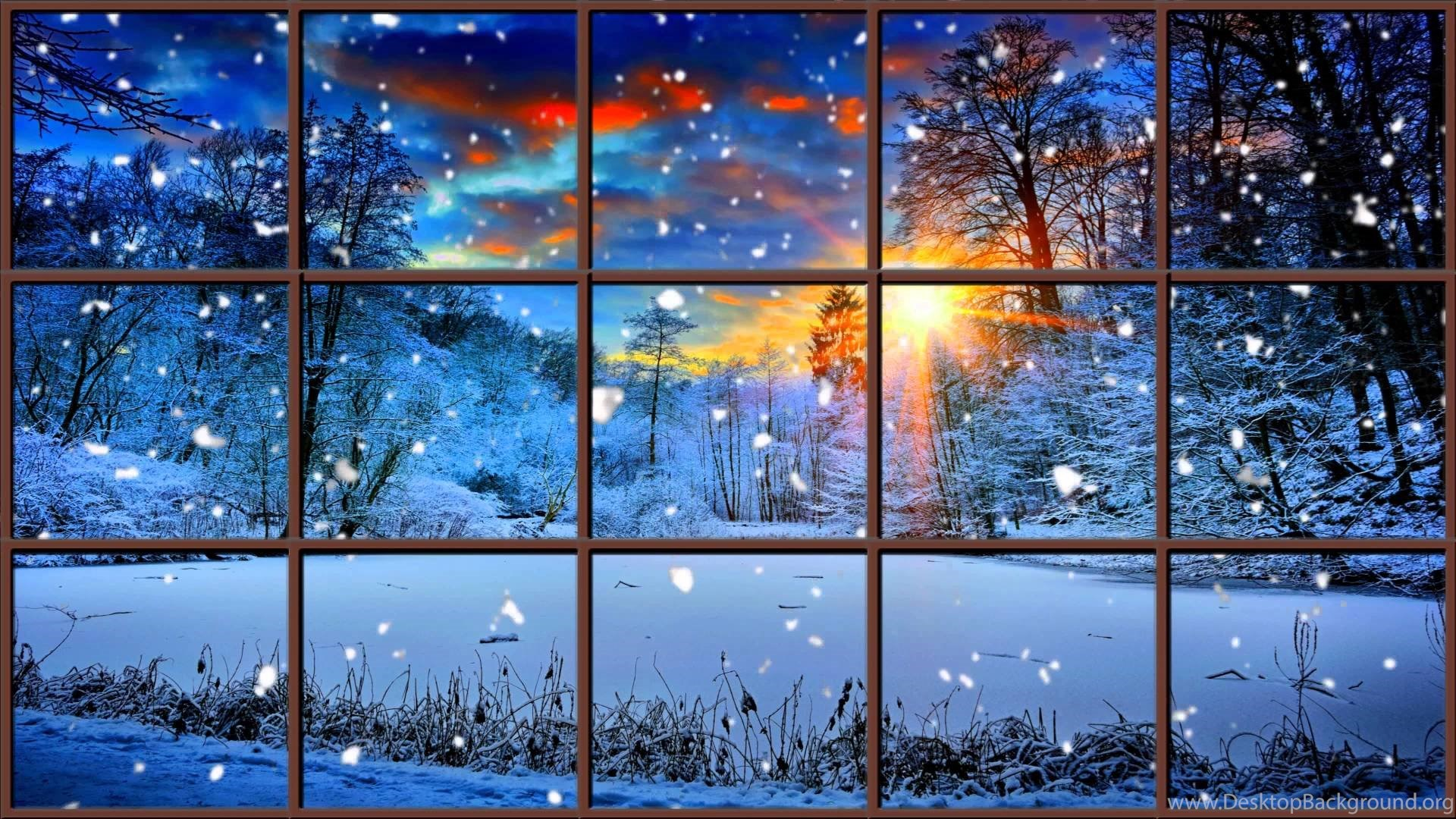 Iphone 5 Falling Snow Wallpaper Winter Window Snow Scene In 4k Living Wallpapers With