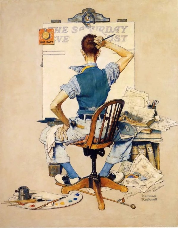 Artist Facing Blank Canvas Norman Rockwell Paintings