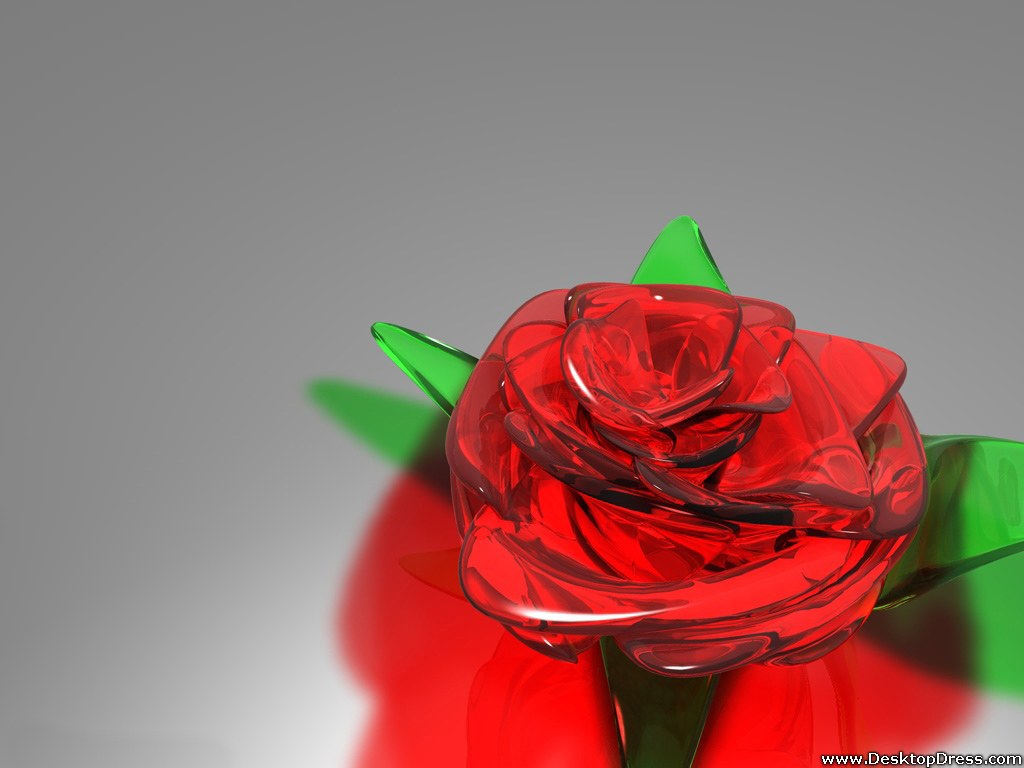 desktop wallpapers » 3d backgrounds » red rose of glass » www