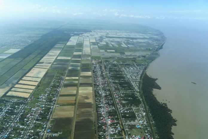Aerial view of the coastal city of Georgetown, Guyana