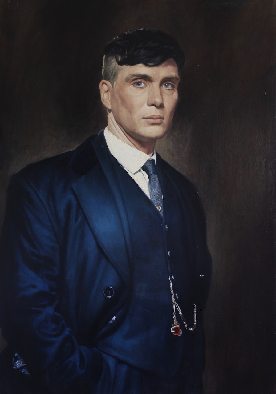 Portrait of Cillian Murphy as Thomas Shelby for the TV series Peaky Blinders portrait by Desmond Mac Mahon