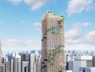 Tendrá 350 metros de altura y será la más alta en su tipo, con una construcción cuya estructura combina nueve partes de madera y una de acero