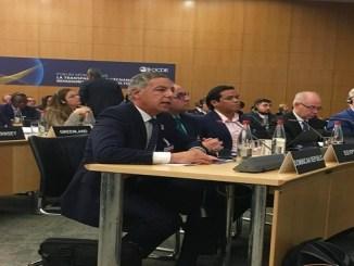 El ministro de Hacienda, Donald Guerrero Ortiz, durante su exposición en el Desayuno de Ministros Latinoamericanos.