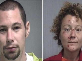 Combo de dos fotografías cedidas por el condado de Nassau, al noreste de Florida, donde aparecen Seth Aaron Thomas, de 31 años, y Megan Lynn Mondanaro, de 35, que fueron detenidos por embriaguez y siguen presos en una cárcel local