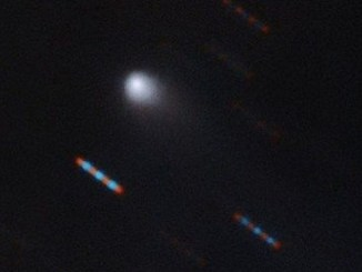 En su primera foto, el nuevo visitante interestelar muestra su cola de cometa. Las imágenes rojas y azules corresponden a estrellas de fondo que aparecen distorsionadas por el movimiento del cometa.