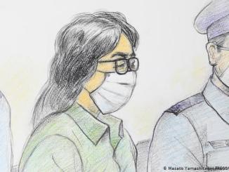 Un retrato a mano de Tahahiro Shiraishi en su primer juicio el 30 de septiembre de 2020