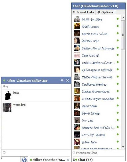 Antiguo Chat Facebook