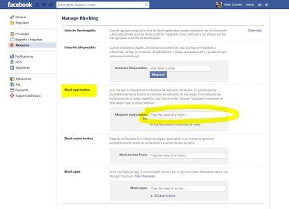 Bloquear invitaciones de aplicaciones y juegos en Facebook