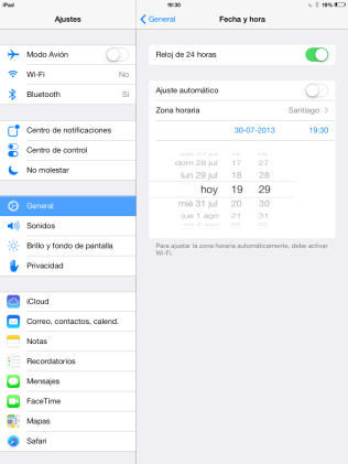Cambiar hora manualmente iOS 7
