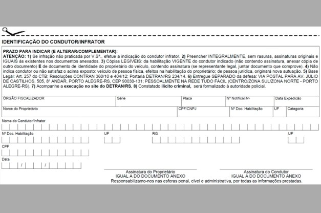 Identificação do real condutor detran go