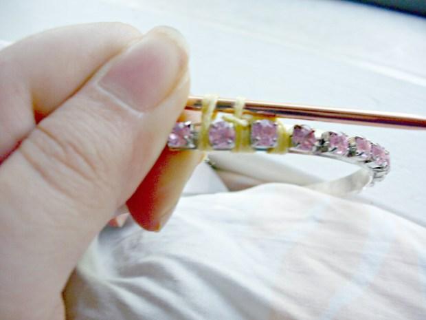 color block crochet rhinestone bangle diy